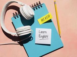 Headphones used learning new language photo