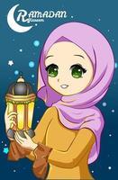 Beautiful muslim girl with lantern at ramadan kareem night cartoon illustration vector