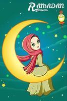 Muslim girl with lantern and moon ramadan kareem cartoon illustration vector