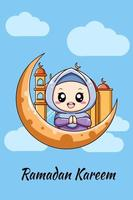 Little muslim girl with moon and mosque cartoon illustration vector