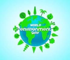 World environment day vector banner with trees and the Earth