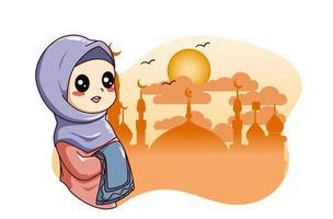 Cute little muslim girl with mosque at ramadan kareem cartoon illustration vector