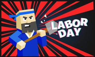 Happy Labor day greeting card with cute cartoon worker vector