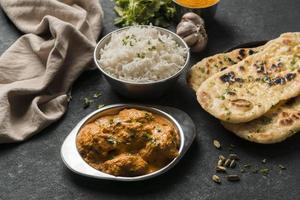 High angle Indian food arrangement photo