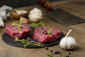 High angle meat with herbs and garlic photo