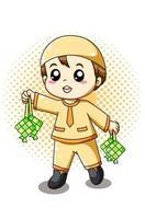 Little cute muslim boy with ramadan food cartoon illustration vector