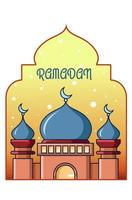 Mosque cartoon illustration at ramadan mubarak vector