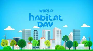 World habitat day greeting card. Cartoon style 3d illustration vector