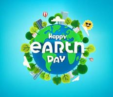 Happy Earth day banner with trees on the Earth. Cartoon style 3d vector illustration