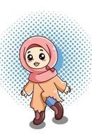 Happy and funny little muslim girl at ramadan cartoon illustration vector