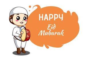 Cute muslim boy with drum celebrating  mubarak cartoon illustration vector