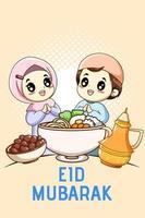 Cute muslim boy and girl celebrating mubarak cartoon illustration vector