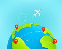 Jetliner flight trajectory from country to country with dashes trace vector