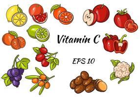 Set of fruits and vegetables and berries. Vitamin C. Healthy food. Great collection. vector