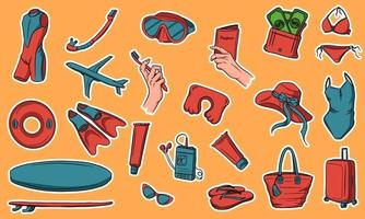 A large set of items for travel and vacation. Off the sea. Swimming items. Stickers. Collection of items for travel. vector