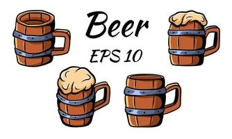 Collection of wooden mugs for beer. Two empty and two full. vector