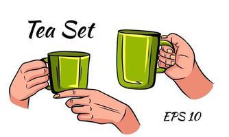 Set of cups of tea with hands. vector