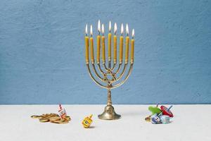 Jewish candlestick holder burning photo