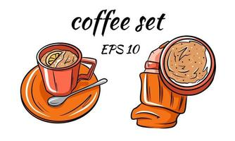 Set vector of coffee. Coffee in hand.