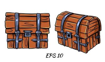Set of chests in cartoon style. Vector