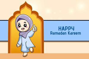 Cute muslim girl happy at ramadan kareem cartoon illustration vector