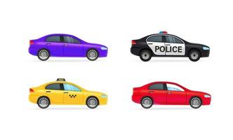 Different city cars vector clipart isolated on white background