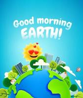 Beautiful Earth and the Sun in love. Good morning concept. Cartoon style 3d illustration. Plasticine effect vector