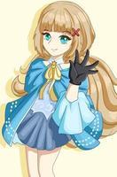 Beautiful princess long hair with blue costume design character cartoon illustration vector