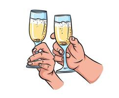 Two hands with champagne glasses. vector