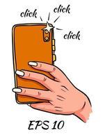 teléfono en mano tomando una foto vector