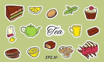A set of tea icons vector