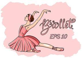 bailarina en pointe zapatos con un vestido rosa vector