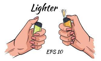 Hands holding a lighter vector