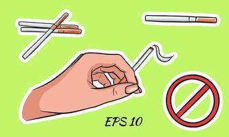 paquetes de cigarrillos en estilo de dibujos animados. vector