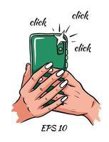 teléfono en mano. hacer clic. ilustración vectorial. vector