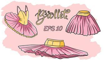A set of ballet clothes. Skirt, tutu. Vector set.