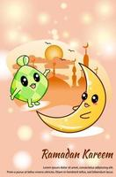 Cute ramadan food and moon at ramadan kareem cartoon illustration vector