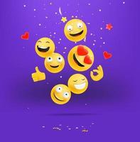 emojis felices cayendo concepto. multitud de emoticonos sonriendo y riendo vector