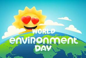 World environment day vector banner with comic sun
