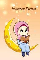 Cute and happy muslim girl on the moon reading a book at ramadan kareem cartoon illustration vector
