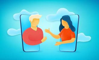 People talking via mobile application. 3d style cute illustration vector