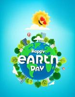 Happy Earth day banner with trees on the Earth. Cartoon style 3d vertical banner vector