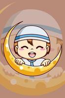 Little cute muslim boy with moon at ramadan kareem cartoon illustration vector