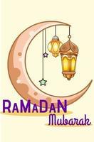 Moon and lantern at ramadan mubarak cartoon illustration vector