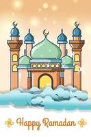 Mosque in the sky at ramadan kareem cartoon illustration vector