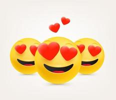 Love emoticons with hearts. Emoticons in cute 3d style vector set isolated on white