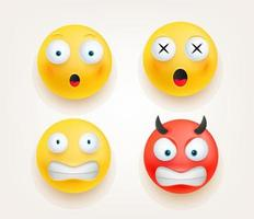 Web icons. Emoticons in cute 3d style vector set isolated on white