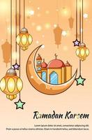 Moon,  lantern and mosque gold background cartoon illustration vector