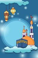 Mecca, mosque and lantern design background cartoon illustration vector