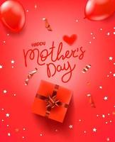 Happy mothers day red vector banner with calligraphic inscription